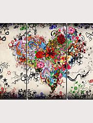 Недорогие -С картинкой Отпечатки на холсте - Абстракция Традиционный Modern 3 панели Репродукции