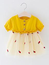 levne -Dítě Chlapecké Aktivní / Základní Patchwork / Ovoce Patchwork Krátký rukáv Nad kolena Polyester Šaty Žlutá