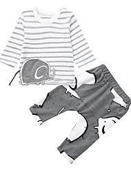 levne -Dítě Chlapecké Základní Proužky / Tisk Tisk Dlouhý rukáv Standardní Standardní Bavlna Sady oblečení Šedá