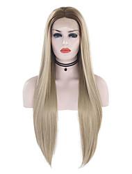 halpa -Synteettiset pitsireunan peruukit Suora Tyyli Keskiosa Lace Front Peruukki Ombre Ombre Color Synteettiset hiukset 18-24 inch Naisten Säädettävä / Heat Resistant / Party Ombre Peruukki Pitkä
