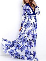 preiswerte -Damen Boho Street Schick Etuikleid Swing Kleid - Quaste, Blumen Verziert Maxi