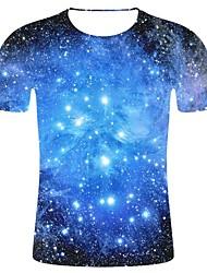 Недорогие -Муж. С принтом Большие размеры - Футболка Хлопок, Круглый вырез 3D принт / Галактика Галактика Синий
