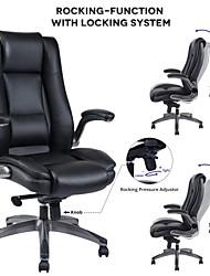 Недорогие -кожаное офисное кресло с высокой спинкой vanbow - регулируемый угол наклона и откидные ручки Исполнительный компьютерный стул для офиса толстая набивка для комфорта и эргономичного дизайна ...