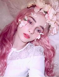 halpa -Synteettiset peruukit Runsaat laineet Tyyli Vapaa osa Suojuksettomat Peruukki Ombre Pink + Punainen Synteettiset hiukset 24inch Naisten Cosplay / Pehmeä / Tanssia Ombre Peruukki Pitkä Cosplay-peruukki