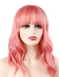 Недорогие -Парики из искусственных волос Волнистый Стиль Стрижка боб Машинное плетение Парик Розовый Розовый Искусственные волосы 14 дюймовый Жен. Для вечеринок обожаемый Лучшее качество Розовый Парик