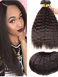 Недорогие -3 Связки Индийские волосы Вытянутые Не подвергавшиеся окрашиванию 100% Remy Hair Weave Bundles Головные уборы Пучок волос Накладки из натуральных волос 8-28 дюймовый Естественный цвет