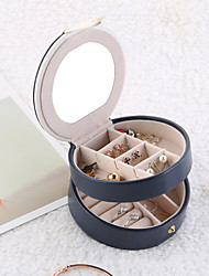 billige -flerlags lille smykkeskrin flerlags bærbar smykkeskrin læder øreringe øreringe opbevaring