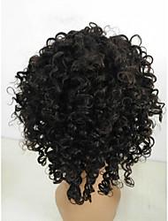 ieftine -Păr Natural Integral din Dantelă Perucă Partea gratuită stil Păr Brazilian Buclat Negru Perucă 130% Densitatea părului Clasic Dame Tinerețe Negru Pentru femei Scurt Altele Clytie