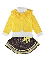 levne -Dítě Dívčí Aktivní / Základní Jednobarevné / Puntíky / Květinový Mašle / Tisk Dlouhý rukáv Standardní Standardní Bavlna / Polyester Sady oblečení Světlá růžová