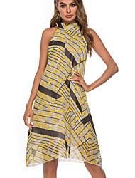 זול -עד הברך לגזור טלאים דפוס שמלה גזרת A שיפון בגדי ריקוד נשים
