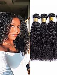 billige -4 pakker Brasiliansk hår Kinky Curly 100% Remy Hair Weave Bundles Menneskehår, Bølget Bundle Hair Hårforlængelse af menneskehår 8-28 inch Naturlig Farve Menneskehår Vævninger Lugtfri Valentins Sexet