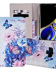 billige -Etui Til Samsung Galaxy Note 9 Pung / Kortholder / Med stativ Fuldt etui Sommerfugl / Blomst Hårdt PU Læder for Note 9