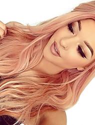 halpa -Synteettiset pitsireunan peruukit Runsaat laineet Lily Tyyli Keskiosa Lace Front Peruukki Ruusukulta Synteettiset hiukset 22-26 inch Naisten Heat Resistant / Naisten / Muoti Ruusun vaaleanpunainen