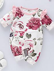 abordables -Bebé Chica Activo / Básico Floral Manga Larga Algodón Una Pieza Blanco