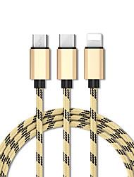 ราคาถูก -Micro USB / แสง / Type-C สายเคเบิ้ล 1.3m (4.3Ft) ปกติ / ทุกอย่างในหนึ่งเดียว / ถัก TPE อะแดปเตอร์สายเคเบิล USB สำหรับ เครื่องเล่น iPad / โทรศัพท์ Samsung / Huawei