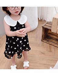cheap -Toddler Girls' Sweet Polka Dot Sleeveless Knee-length Cotton / Spandex Dress Black