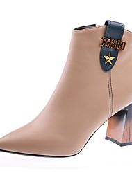 ราคาถูก -สำหรับผู้หญิง PU ฤดูใบไม้ร่วง & ฤดูหนาว ไม่เป็นทางการ บูท ส้นหนา Pointed Toe รองเท้าบู้ทหุ้มข้อ สีดำ / สีกากี