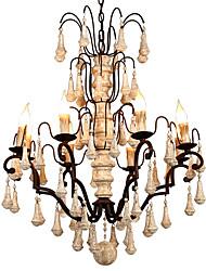 abordables -Ecolight 8 lumières Bougie / Spoutnik / Globe Lustre Lumière d'ambiance Finitions Peintes Bois Métal Bois / Bambou Ajustable, Style Bougie, Arbre 110-120V / 220-240V