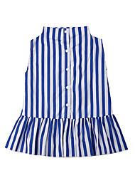 abordables -Enfants / Bébé Fille Actif / Doux Bleu & blanc Rayé A Volants Sans Manches Coton Robe Bleu