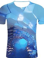 お買い得  -男性用 プリント Tシャツ ロック / 誇張された 3D / 虹色 / グラフィック ブルー XXL