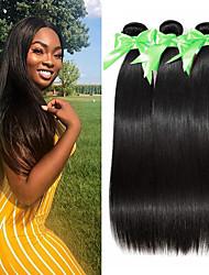 abordables -3 paquetes Cabello Brasileño Recto Paquetes 100% Remy Hair Weave Tejidos Humanos Cabello Cabello Bundle Extensiones Naturales 8-28 inch Color natural Cabello humano teje Libre de Olores Suave Mejor