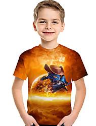 abordables -Enfants / Bébé Garçon Actif / Basique Géométrique / Imprimé Imprimé Manches Courtes Polyester / Spandex Tee-shirts Orange