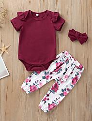 abordables -bébé Fille Actif / Basique Fleur Manches Courtes Normal Coton Ensemble de Vêtements Vin / Bébé