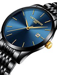 Недорогие -Муж. Нарядные часы Кварцевый Классический Стали Черный / Серебристый металл / Золотистый Защита от влаги Календарь Аналоговый На каждый день Мода Простые часы - / Нержавеющая сталь