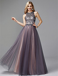 badd915aee5 A-Line Jewel Neck Floor Length Tulle Keyhole Prom   Formal Evening Dress  with Beading by TS Couture®