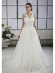 d2ffe45c0 رخيصةأون فساتين زفاف-A-الخط V رقبة ذيل كنسية صغيرة دانتيل / تول فساتين