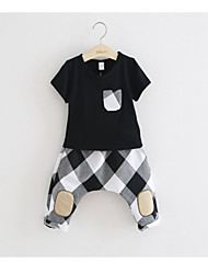 cheap -Kids / Toddler Boys' Basic / Street chic Color Block / Check Ripped Short Sleeve Short Short Cotton / Spandex Clothing Set White