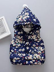 abordables -Bébé Fille Actif / Basique Fleur / Imprimé Imprimé Normal Coton / Polyester Veste & Manteau Bleu