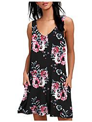 cheap -Women's Boho Elegant A Line Sheath Dress - Floral Geometric Print Gray Light Blue Royal Blue L XL XXL