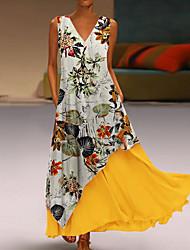 Недорогие -Жен. Из двух частей Платье - Цветочный принт Макси