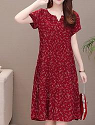 hesapli -kadın diz boyu gevşek shift elbise pamuklu şarap xl xxl xxxl xxxxl