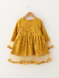 cheap -Kids / Toddler Girls' Sweet / Cute Daisy Solid Colored / Jacquard Lace / Tassel / Embroidered 3/4 Length Sleeve Above Knee Cotton / Spandex Dress Yellow