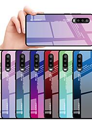 Недорогие -Кейс для Назначение Huawei Huawei P30 / Huawei P30 Pro / Huawei P30 Lite Защита от удара / Защита от влаги Кейс на заднюю панель Цвет неба / Градиент цвета Твердый ТПУ / Закаленное стекло / ПК