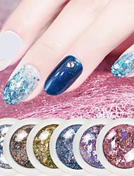 billige -1 pcs Farvegradient / Bedste kvalitet / Slankt design Plastik Pailletter Til Fingernegl Mode Negle kunst Manicure Pedicure Daglig Farverig