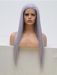 halpa -Synteettiset pitsireunan peruukit Suora Tyyli Vapaa osa Lace Front Peruukki Harmaa Harmaa Synteettiset hiukset 18-24 inch Naisten Säädettävä / Heat Resistant / Party Harmaa Peruukki Pitkä