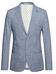 abordables -Rayé Coupe Slim Coton Costume - Cranté Droit 2 boutons