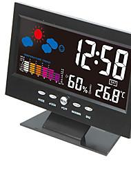 Недорогие -электронный цифровой жк-стол часы температура влажность монитор часы термометр гигрометр прогноз погоды настольные часы