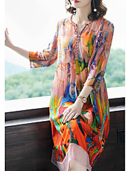 זול -עד הברך גיאומטרי - שמלה ישרה סגנון רחוב מתוחכם בגדי ריקוד נשים