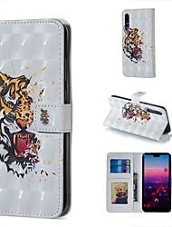 baratos -Capinha Para Huawei P20 lite / Huawei P30 Pro Carteira / Porta-Cartão / Com Suporte Capa Proteção Completa Animal Rígida PU Leather para Huawei P20 Pro / Huawei P20 lite / Huawei P30