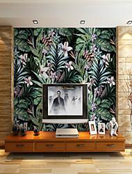 Недорогие -черный фон листья цветов подходящих для тв фоне настенные обои росписи гостиная кафе ресторан спальня офис xxxl (448 * 280см)