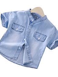 abordables -Enfants Garçon Basique / Chic de Rue Imprimé Imprimé Manches Courtes Coton Chemise Bleu clair