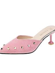 ราคาถูก -สำหรับผู้หญิง PU ฤดูร้อน ไม่เป็นทางการ รองเท้าไม้ & รองเท้าหัวทู่ ส้นลูกแมว หินประกาย สีดำ / สีเทา / สีชมพู