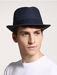Недорогие -Муж. Активный В стиле 1930-х Соломенная шляпа Лён Солома,Однотонный Лето Черный Бежевый