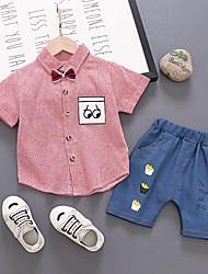 levne -Dítě Chlapecké Základní / Šik ven Proužky / Tisk Krátký rukáv Standardní Standardní Bavlna Sady oblečení Vodní modrá
