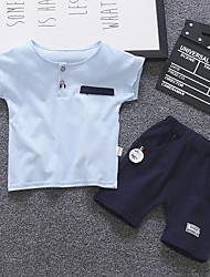 abordables -bébé Garçon Actif / Basique Imprimé / Mosaïque Mosaïque Manches Courtes Normal Normal Coton Ensemble de Vêtements Blanc