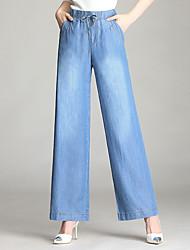 levne -Dámské Základní Široké nohavice Kalhoty - Jednobarevné Vodní modrá